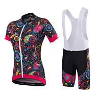 Malciklo Žene Kratkih rukava Biciklistička majica s kratkim tregericama - Obala Crn Cvjetni / Botanički Uglađeni Bicikl Kompleti odjeće,