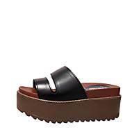 Žene Cipele PU Ljeto Udobne cipele Sandale Wedge Heel za Vanjski Obala Crn