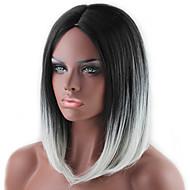 Synthetische Perücken Glatt Bubikopf Synthetische Haare Gefärbte Haarspitzen (Ombré Hair) / Dunkler Haaransatz / Mittelscheitel Grau Perücke Damen Mittlerer Länge Kappenlos Grau