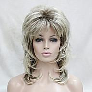 人工毛ウィッグ ウェーブ レイヤード・ヘアカット バング付き 密度 キャップレス 女性用 ブロンド ナチュラルウィッグ ミディアム 合成