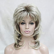 Syntetisk hår Parykker Bølget Frisure i lag Med bangs / pandehår Naturlig paryk Medium Blond