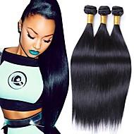 ブラジリアンヘア ストレート レミーヘア 人間の髪編む 3バンドル 8-28インチ 人間の髪織り ブラック