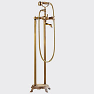 cheap Shower Faucets-Antique Centerset Widespread Pullout Spray Floor Standing Ceramic Valve Two Handles Two Holes Antique Copper, Shower Faucet