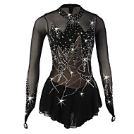 cheap -Figure Skating Dress Women's / Girls' Ice Skating Dress Black Spandex High Elasticity Competition Skating Wear Breathable, Handmade Floral / Botanical Long Sleeve Ice Skating / Figure Skating