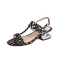 Mulheres Sapatos Pele Nobuck Primavera Verão Conforto Tira no Tornozelo Sandálias Salto Alto de Cristal Dedo Aberto Cristais para Casual