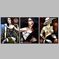 billiga Väggkonst-Stretchad Kanvastryck Moderna, Tre paneler Duk Horisontell Panoramautsikt Tryck väggdekor Hem-dekoration