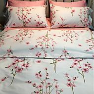 tanie Floral Duvet Okładki-Zestawy kołdra okładka Kwiaty 4 elementy Poly / Cotton Reactive Drukuj Poly / Cotton 1szt kołdrę 2szt Shams 1szt Flat Sheet