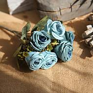 Χαμηλού Κόστους Μοναδικό σπίτι διακόσμηση-Ψεύτικα λουλούδια 1 Κλαδί Rustic / Γάμος Τριαντάφυλλα Λουλούδι για Τραπέζι