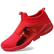 cheap Men's Athletic Shoes-Men's Shoes Knit Leatherette Tulle Spring Fall Comfort Athletic Shoes Walking Shoes Running Shoes for Athletic Casual Black Gray Red