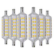 billige Kornpærer med LED-YWXLIGHT® 6pcs 6W 500-600lm R7S LED-kornpærer 72 LED perler SMD 2835 Varm hvit 220-240V