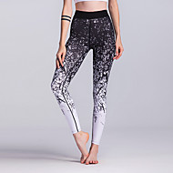 Dam Yoga byxor Svart / vit sporter Geometrisk Elastan Leggings Underdelar Löpning Fitness Gym träning Sportkläder Mateial som andas Mjukhet Elastisk