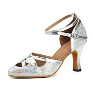 billiga Dansskor-Dam Moderna skor Glitter / Konstläder Sandaler / Högklackade Tvinning Individuellt anpassad klack Går att specialbeställas Dansskor Silver