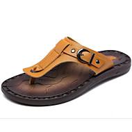 זול -בגדי ריקוד גברים נעליים עור אביב קיץ נוחות סנדלים ל קזו'אל כחול כהה חום בהיר חום כהה