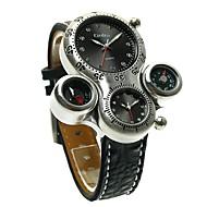 저렴한 -Oulm 남성용 커플용 석영 패션 시계 스포츠 시계 캐쥬얼 시계 일본어 캐쥬얼 시계 가죽 밴드 사치 빈티지 블랙 브라운