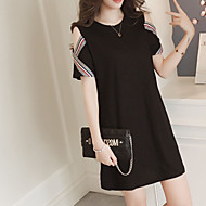 Women's Plus Size Daily Going out Basic Street chic Mini Loose Sheath Dress - Solid Colored Black Off Shoulder Spring Black XXL XXXL XXXXL