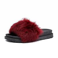 お買い得  レディーススリッパ&フリップフロップ-女性用 靴 フリース 夏 コンフォートシューズ スリッパ&フリップ・フロップ フラットヒール ラウンドトウ フェザー のために ブラック グレー バーガンディー