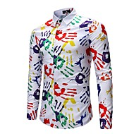 Homens Camisa Social Activo Moda de Rua Estampado,Estampa Colorida