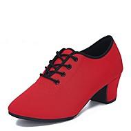 """billige Moderne sko-Dame Moderne Tyll Oxford Høye hæler Innendørs Lav hæl Svart Rød 1 """"- 1 3/4"""" Kan spesialtilpasses"""