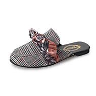 baratos Sapatos Femininos-Mulheres Sapatos Náilon / Tecido / Couro Ecológico Primavera / Verão Conforto Chinelos e flip-flops Sem Salto Laço Bege / Vermelho