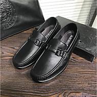 baratos Sapatos Masculinos-Homens Couro de Porco Primavera / Outono Conforto Mocassins e Slip-Ons Preto