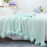 billiga Filtar och plädar-Stickat, Färgat garn Enfärgad / Geometrisk Cotton filtar