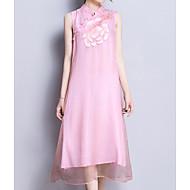 女性用 ベーシック バタフライスリーブ コットン Aライン ドレス - 刺繍, ソリッド ミディ スタンド