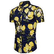 Herre - Blomstret Bomuld Forretning Skjorte Citron