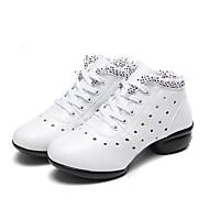 baratos Sapatilhas de Dança-Mulheres Tênis de Dança Couro Têni Rendado / Saiu ao lado Sem Salto Personalizável Sapatos de Dança Branco