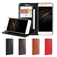 billiga Mobil cases & Skärmskydd-fodral Till Huawei P10 Plus P10 Lite Korthållare Plånbok Stötsäker med stativ Lucka Fodral Ensfärgat Hårt Äkta Läder för P10 Plus P10