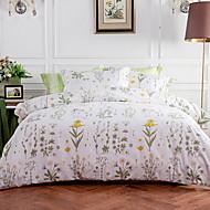 billige Blomstrete dynetrekk-Sengesett Blomstret 4 deler Polyester/Bomull Mønstret Polyester/Bomull 1stk Dynetrekk 2stk Trekk 1stk Flatt Laken