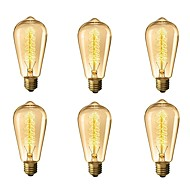 baratos Incandescente-6pcs 40W E26 / E27 ST64 Branco Quente 2200-2700k Retro / Regulável / Decorativa Incandescente Vintage Edison Light Bulb 220-240V