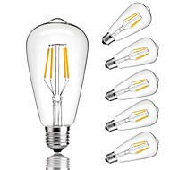 Χαμηλού Κόστους LED Λάμπες με Νήμα Πυράκτωσης-6pcs 4 W 360 lm E26/E27 LED Λάμπες Πυράκτωσης ST64 4 leds COB Διακοσμητικό Θερμό Λευκό Ψυχρό Λευκό 220V-240V