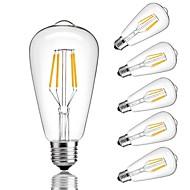 hesapli LED Filaman Lambaları-6pcs 4W 360lm E26 / E27 LED Filaman Ampuller ST64 4 LED Boncuklar COB Dekorotif Sıcak Beyaz Serin Beyaz 220-240V