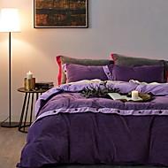 tanie Solid Duvet Okładki-Zestawy kołdra okładka Jendolity kolor Bawełniano-poliestrowy Przędza barwiona 4 elementy
