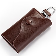 cheap Bags-Cowhide Key Holder Buttons for Casual All Seasons Fuchsia Coffee Brown Sky Blue Dark Red