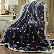 cheap Blankets & Throws-Coral fleece, Quilted Geometric Cotton/Polyester Polyester Blankets