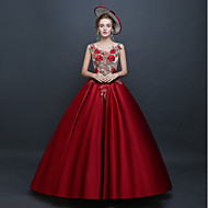 Prinzessin Rokoko Renaissance Kostüm Damen Kleid Party Kostüme Maskerade Ballkleid Rot Vintage Cosplay Ärmellos Boden-Länge