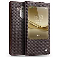 billiga Mobil cases & Skärmskydd-fodral Till Huawei Mate 9 Mate 8 Stötsäker med fönster Lucka Fodral Ensfärgat Hårt Äkta Läder för Huawei Mate 8