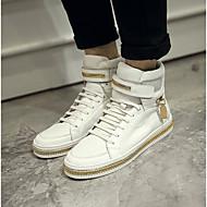 baratos Sapatos Masculinos-Homens Pele Inverno Conforto Tênis Branco / Preto