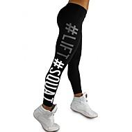 Per donna Sexy Pantaloni da yoga - Nero, Fucsia Gli sport Alfabetico Calze / Collant / Cosciali Corsa, Fitness, Palestra Abbigliamento sportivo Traspirante, Comodo, Butt Lift Elasticizzato