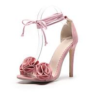 baratos Sapatos Femininos-Mulheres Sapatos Flocagem Primavera / Verão Plataforma Básica Sandálias Salto Agulha Dedo Aberto Amarelo / Rosa claro / Laranja e Preto