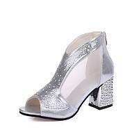 Žene Cipele Guma Proljeće Udobne cipele Cipele na petu Kockasta potpetica Zlato / Pink