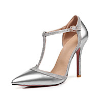 cheap Women's Heels-Women's Shoes Patent Leather Spring Summer Basic Pump D'Orsay & Two-Piece Heels Stiletto Heel Pointed Toe Buckle for Wedding Party &