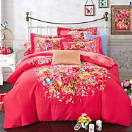 levne Čínské červené povlaky Pouzdra-Povlečení Květinový 4 kusy Polybavlna 100% bavlna Reaktivní barviva Polybavlna 100% bavlna Povlak na přikrývku 1 ks 2 ks polštář 1 ks