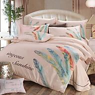 cheap Floral Duvet Covers-Duvet Cover Sets Floral 4 Piece Poly/Cotton Jacquard Poly/Cotton 1pc Duvet Cover 2pcs Shams 1pc Flat Sheet