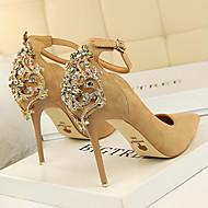 baratos Sapatos Femininos-Mulheres Sapatos Camurça Primavera / Outono Conforto / Inovador Saltos Salto Agulha Dedo Apontado Pedrarias / Miçangas / Presilha Verde /
