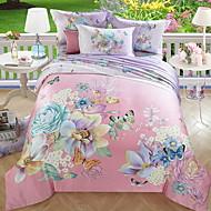 tanie Floral Duvet Okładki-Zestawy kołdra okładka Kwiaty 3 elementy Poly / Cotton 100% bawełna Drukowane Poly / Cotton 100% bawełna 1szt kołdrę 1szt Sham 1szt Flat