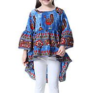 女の子 日常 幾何学模様 ブラウス, ポリエステル 春 夏 七分袖 キュート ブルー ルビーレッド