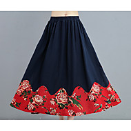 Mulheres Balanço Saias - Floral, Pregueado Cintura Alta