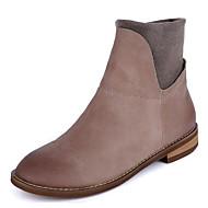 baratos Sapatos Femininos-Mulheres Sapatos Pele Outono / Inverno Conforto / Curta / Ankle Botas Salto Robusto Botas Curtas / Ankle Café / Khaki / Azul Real